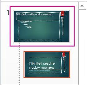 Sličica mastera slajda u prikazu mastera slajda