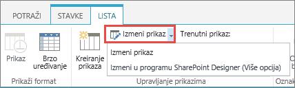 Izmena dugme za prikaz sa padajuće liste otvoriti