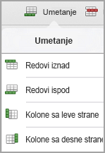 "iPad menija ""Umetanje tabele"""