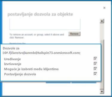 """Snimak ekrana okvira za dijalog """"Postavljanje dozvola za objekte"""" u sistemu SharePoint Online. Koristite ovaj dijalog da biste postavili dozvole za navedeni spoljni tip sadržaja."""