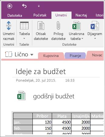 Snimak ekrana ugrađene unakrsne tabele u programu OneNote 2016.