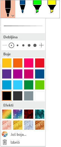 """Opcije boje i debljine za pero u Office galeriji pera na kartici """"Crtanje"""""""