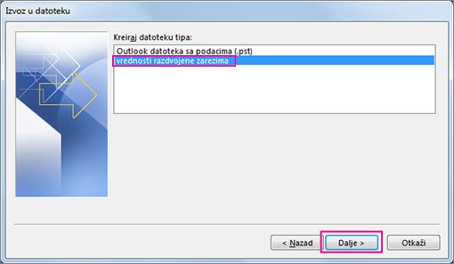 """Odaberite stavku """"Vrednosti razdvojene zarezima (Windows)"""""""