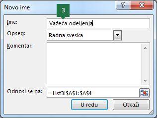 Otkucajte ime za stavke padajuće liste u programu Excel
