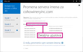 """U usluzi Office 365 izaberite stavku """"Detaljna uputstva"""" za više informacija"""