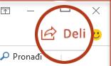 "Dugme ""Deli"" u programu PowerPoint 2016"