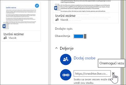 Snimak ekrana onemogućavanja veze u oknu sa detaljima za zaustavljanje deljenja stavke