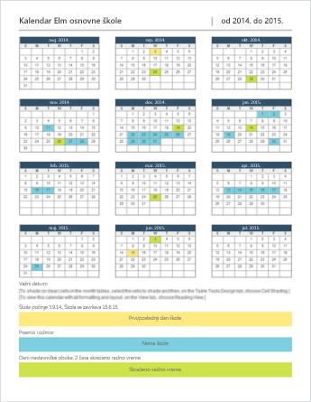 Predložak za kalendar