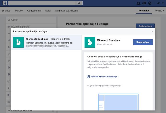 Snimak ekrana koji prikazuje dodavanja usluge u okno partnera aplikacija i usluga.