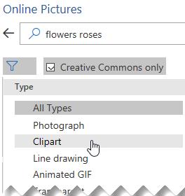 """Izaberite dugme """"Filter"""" a potom odaberite Clipart"""