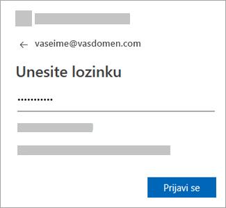 Unesite lozinku za nalog e-pošte.