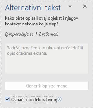 Alternativni tekst okno sa Označi kao ukrasni opcije koju ste izabrali u programu Word za Windows.