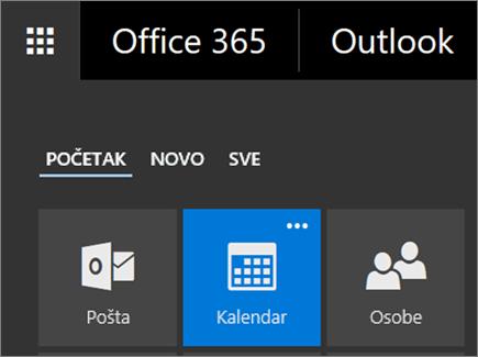 Snimak ekrana pločice kalendara u Office 365 pokretanju aplikacija.
