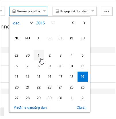 Polja datuma u detaljima zadatka