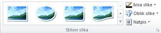 """Grupa """"Stilovi slike"""" sa kartice """"Alatke za slike"""" u programu Publisher 2010"""