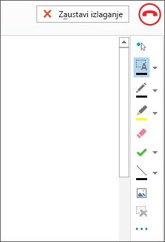 Snimak ekrana bele table na sastanku