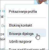 """Snimak ekrana opcija """"Izbriši kontakt"""" u Skype kontakt kontekstualnog menija"""