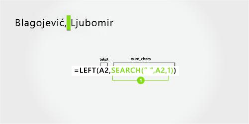 Formula za odvajanje poslednju imenovanje i sufiks na početku, sa zarezom