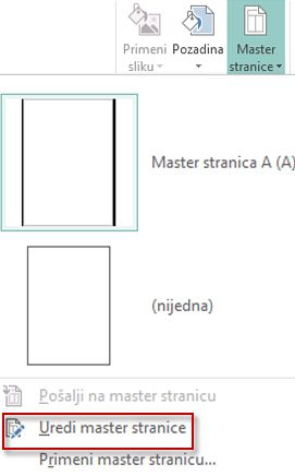 Uređivanje master stranica u programu Publisher 2013.