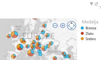 primena boja na Power View vizuelizacije mape