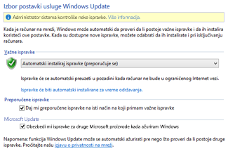 Postavke usluge Windows Update koju koristi operativni sistem Windows 8 na kontrolnoj tabli