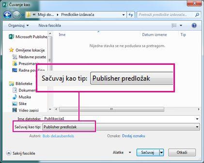 Čuvanje publikacije kao predloška za ponovno korišćenje.