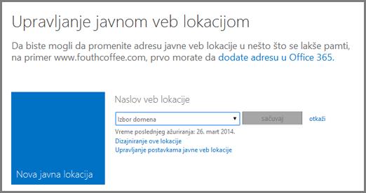 """Dijalog """"Upravljanje javnom veb lokacijom"""" koji prikazuje opciju """"Izbor domena""""."""