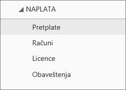 """Snimak ekrana menija """"Naplata"""" u Office 365 centru administracije sa izabranom stavkom """"Pretplate""""."""