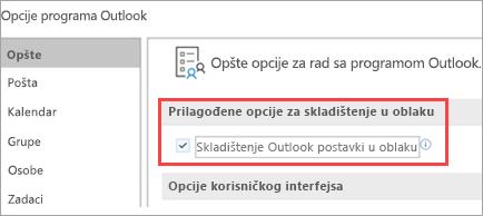 Opcije postavke programa Outlook