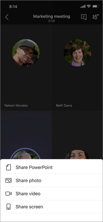 Opcije deljenja, uključujući deljenje PowerPoint, fotografije, video zapisa ili ekrana.