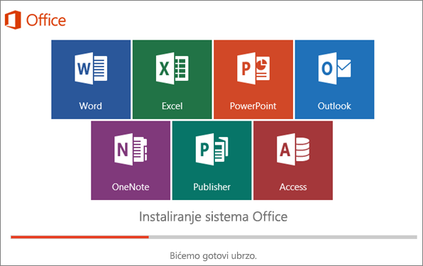 Prozor koji prikazuje tok instalacije sistema Office