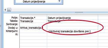 """Red """"Dodaj u"""" koordinatne mreže za dizajn upita"""