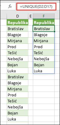 Funkcija UNIQUE koja se koristi za sortiranje liste imena