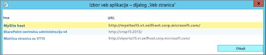 Izaberite Veb aplikaciju sa stranice promeni web aplikacije