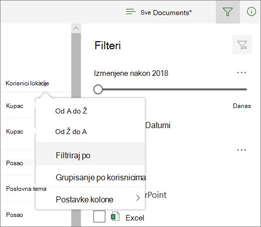 Izaberite stavku Filtriraj po da biste otvorili tablu za filtriranje