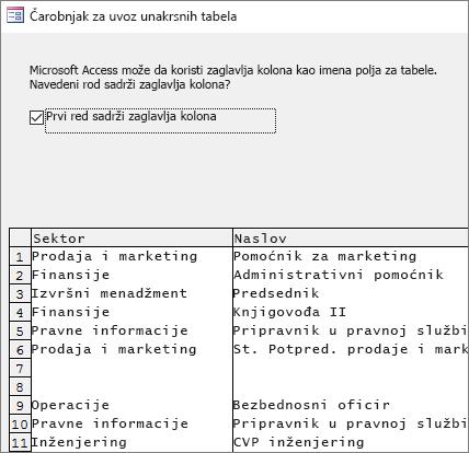 Uvoz podataka iz programa Excel