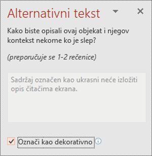Polje za potvrdu Označi kao dekorativno u programu PowerPoint za Windows