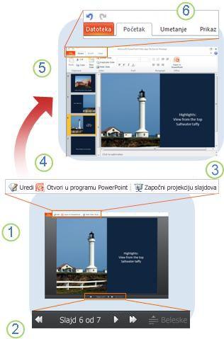 Kratak pregled programa PowerPoint Web App