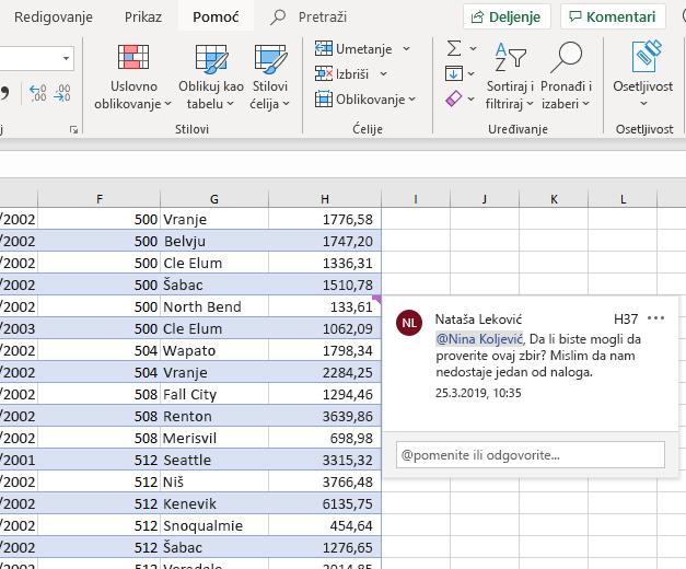 Snimak ekrana na kome je prikazano kreiranje komentara u programu Excel