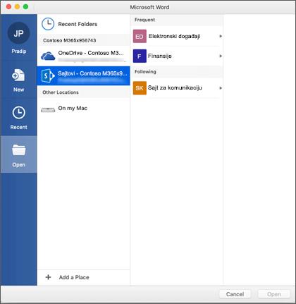 Dijalog za otvaranje datoteke u programu Microsoft Word za Mac Office 365