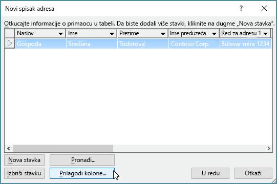 """Da biste dodali prilagođene kolone na listu za objedinjavanje pošte, kliknite na dugme """"Prilagodi kolone""""."""