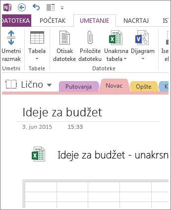 Umetanje nove unakrsne tabele direktno na stranicu