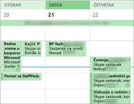 Kako kalendar izgleda korisniku kada delite sa ograničeni detalji.