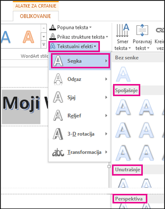 Shadow options found on the Drawing Tools Format tab after clicking Text Effects and then clicking Shadow