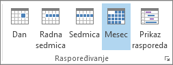 """Organizovanje grupa na kartici """"Početak"""": dan, sedmica, radna sedmica, mesec i raspored"""
