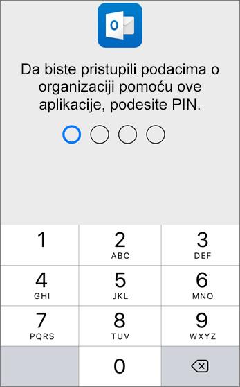 Postavite PIN za pristup podacima organizacije