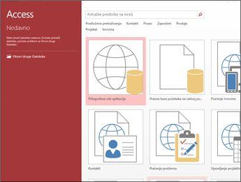 """Ekran dobrodošlice programa Access koji prikazuje polje za pretragu predložaka i dugmad """"Prilagođena veb aplikacija"""" i """"Prazna baza podataka radne površine""""."""