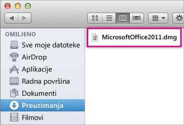 Slika .dmg datoteke na koju možete kliknuti dvaput da biste otvorili Office program za instalaciju.