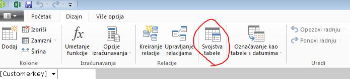 """Traka na PowerPivot prozoru koja prikazuje komandu """"Svojstva tabele"""""""