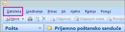 """U programu Outlook 2007 odaberite karticu """"Datoteka""""."""